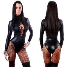 Sexy Women PU Leather LATEX Bodysuit Catsuit Long Sleeve Leotard Tops Jumpsuit