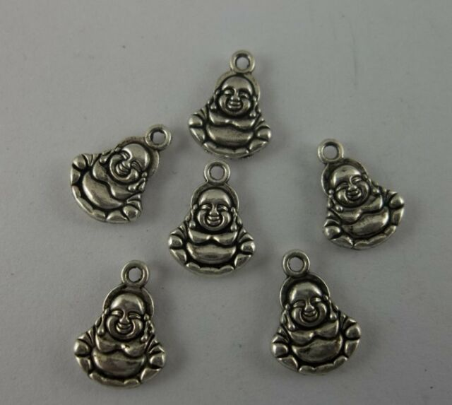 Tibetan silver Buddha charms necklace 14x10mm