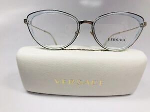 df2129cc4e7a New Versace MOD 1244 1405 Transparent Soft Blue   Gold Eyeglasses ...