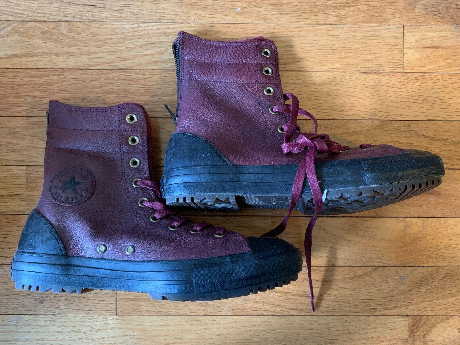 Converse CTAS Hi Rise Bordeaux Black Leather Boots Size 10.5 (NIB)