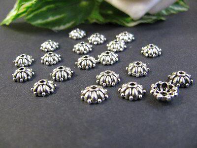 20 Perlkappen silberfarben, 8mm, Schmuck - Perlen basteln, Endkappen für Perlen