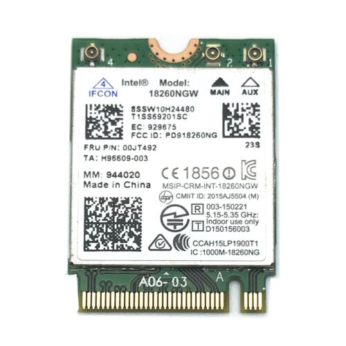 Intel 18260NGW WiFi 802.11ad 867Mbps BT 4.1 Card for Thinkpad X260 T460 00JT492