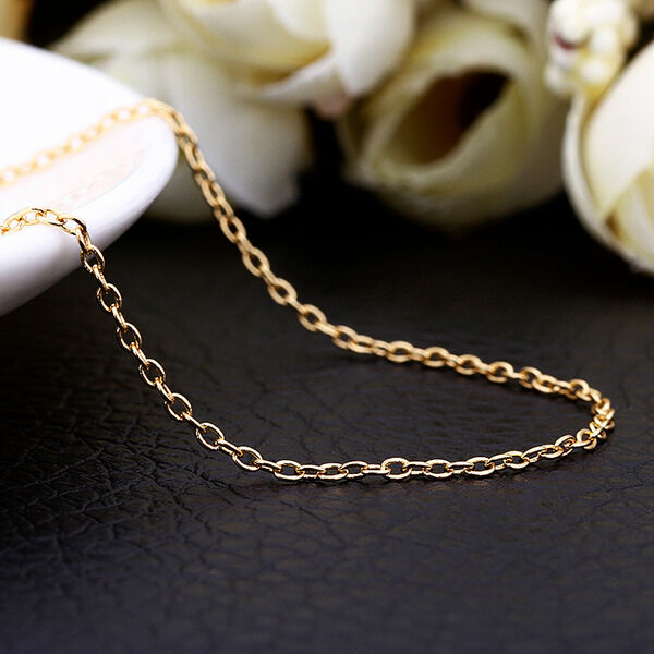 New 18K Gold GP 1.5mm Class Chain Necklace Stunning Wholesale 18'' / 46cm + 5cm