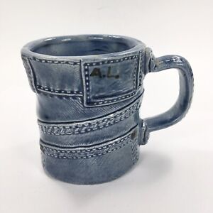 Vintage-70s-3D-Blue-Jean-Denim-Mug-Ceramic-Pottery-Cup-Coffee-Tea-Some-Chips