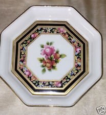 """WEDGWOOD ENGLAND CLIO OCTAGONAL TRAY 4 7/8"""" FLORAL BLACK & GOLD BANDS ON WHITE"""