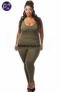 Plus-Size-Olive-Red-Burgandy-White-Sleeveless-Jumpsuit-Romper-Catsuit-One-Piece