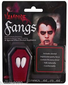 White-Vampire-Dracula-Fangs-Caps-Teeth-Fancy-Dress-With-Putty-Adhesive-Halloween