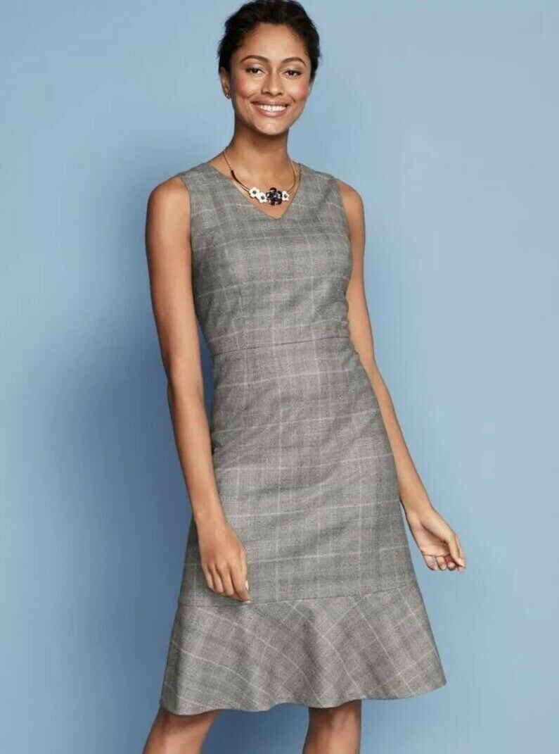 NWT TALBOTS GLEN PLAID FABRIC WOVEN IN ITALY HIGH QUALITY DRESS Größe 10