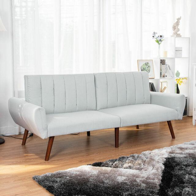 Sofa Futon Bed Sleeper Couch Convertible Mattress Premium Linen Upholstery Gray