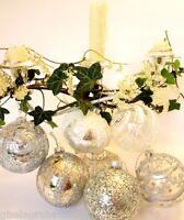 GISELA GRAHAM Christmas vintage glass baubles SET OF 6 tree ornaments silver