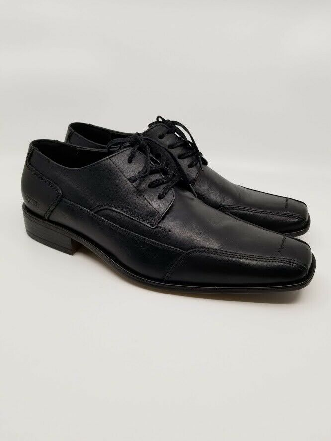 KENNETH COLE Reaction Mens Shoes - Navy Yard Black Leather Oxfords, Size 10.5 M