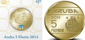 Aruba-5-florin-2014-KM-59-King-Konig-Willem-Alexander-im-Hartberger-Holder-UNC