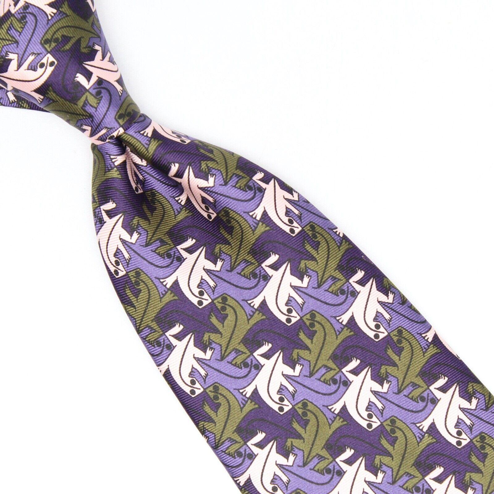Mc Escher Herren Seide Krawatte Lila Rosa Grün Boxelder Critter Aufdruck