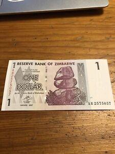 Reserve Bank Of Zimbabwe One Dollar Uncirculated Banknote 2007