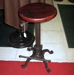 Stool - Swivel - Restoration Style Wood  & Iron -Seat Adj Height and Foot Rest
