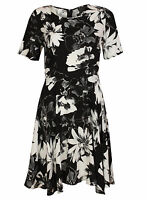 Ex Papaya Black White Floral Print Dress Tunic Size 8-20
