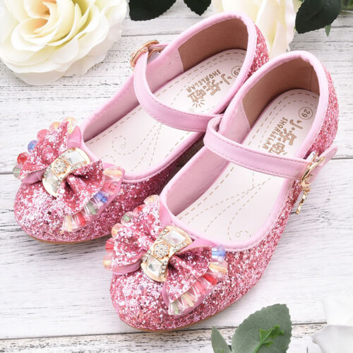 Baby Girls Flat Dress Party Shoes Toddler Rhinestone Princess Shoes 2-6 Years