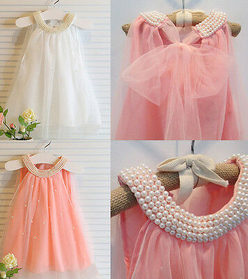 New Toddler Girls Baby Flower Girl Cute Wedding First Birthday Top Pearl Dress