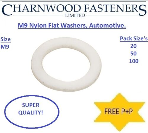 M9 Nylon Flat Washers Automotive Diameter Specification.