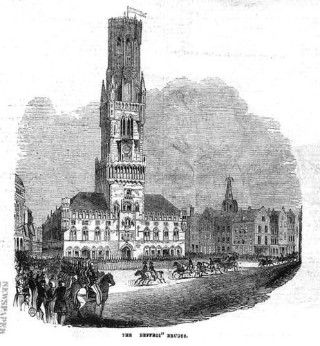 BELGIUM The Beffroi at BRUGES Antique Print 1843