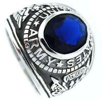 Army Montana Blue Stone Us Military .925 Sterling Silver Mens Ring