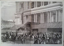 1852 PRINT FUNERAL OF THE DUKE OF WELLINGTON : CAR ARRIVES AT ST PAULS CATHEDRAL