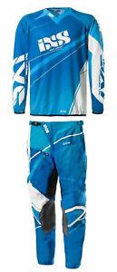 IXS-Jersey-amp-Pant-Kit-Combo-Adult-Motocross-Gear-MX-ATV-Dark-Blue-Light-Blue