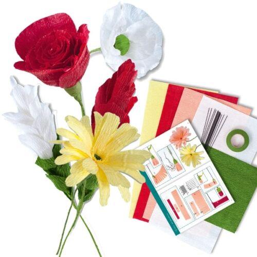 21-teilig mit Anleitung Blumenset mit Floristenkrepp
