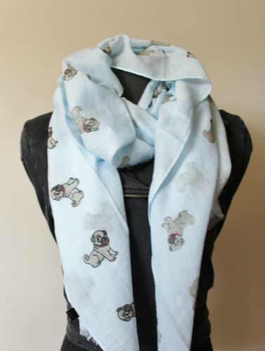Cute Pug Scarf Wrap Pashima Shawl  100/% Cotton Dog Lovers Gift UK Seller