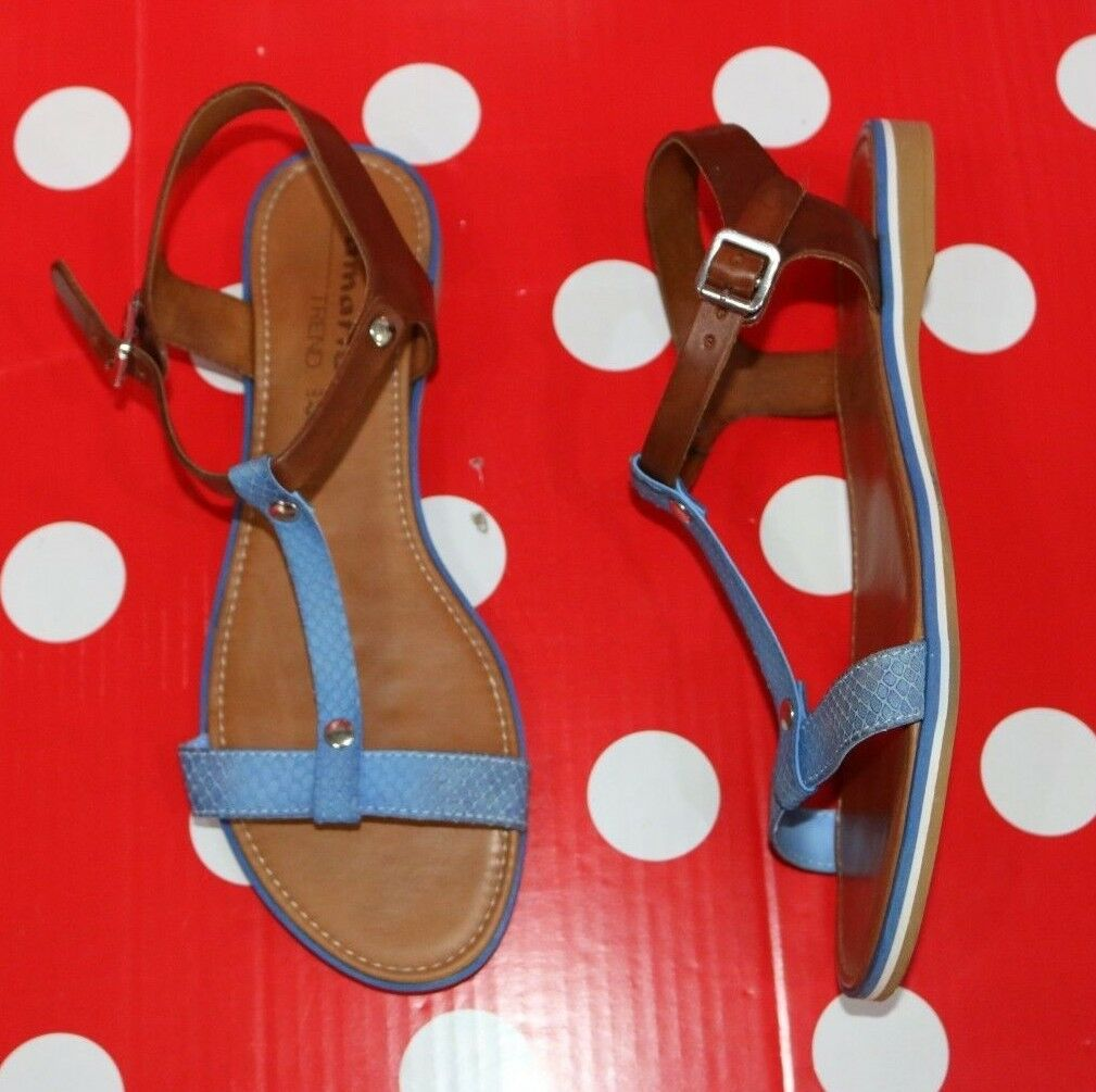 TAMARIS sz eu shoes 41 us 10 leather flat sandal shoes eu women Brown/blue 3e3b99