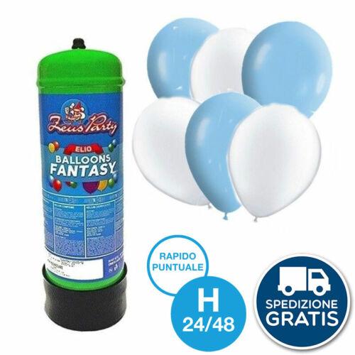KIT BOMBOLA GAS ELIO PER 35 PALLONCINI CON 30 palloncini bianchi e celesti