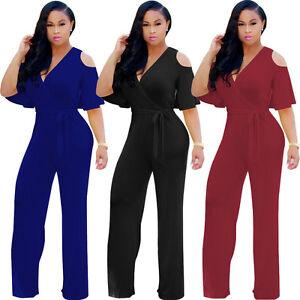 c55d5bf287e Women Fashion Jumpsuit Romper Short Sleeve V Neck Cold Shoulder Wide ...