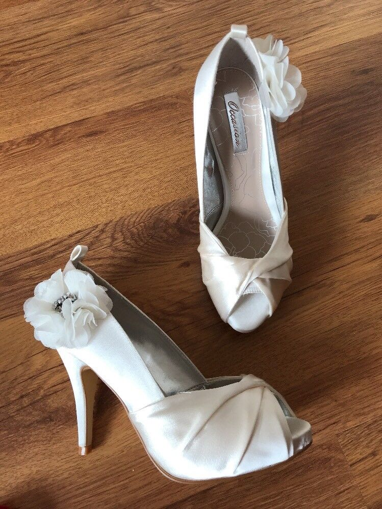 Next Occasion Ivory Satin Sandals shoes Uk 5 Bridal Heels Flower Bling New