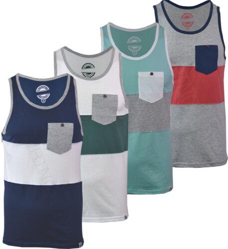 Mens Gym Fashion Vest Casual Cotton Rich Summer Holidays Pocket Top S-XXL