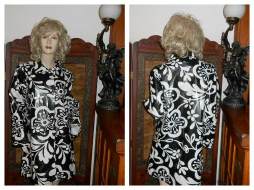 Vtg S/M Shiny Black White pvc Raincoat vinyl Trenc