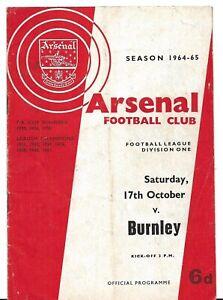 Football-Programme-gt-ARSENAL-v-BURNLEY-Oct-1964