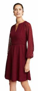 Ann Taylor Chiffon Dot Sleeve Flare Women's Dress - Scarlet Lily, Size 10