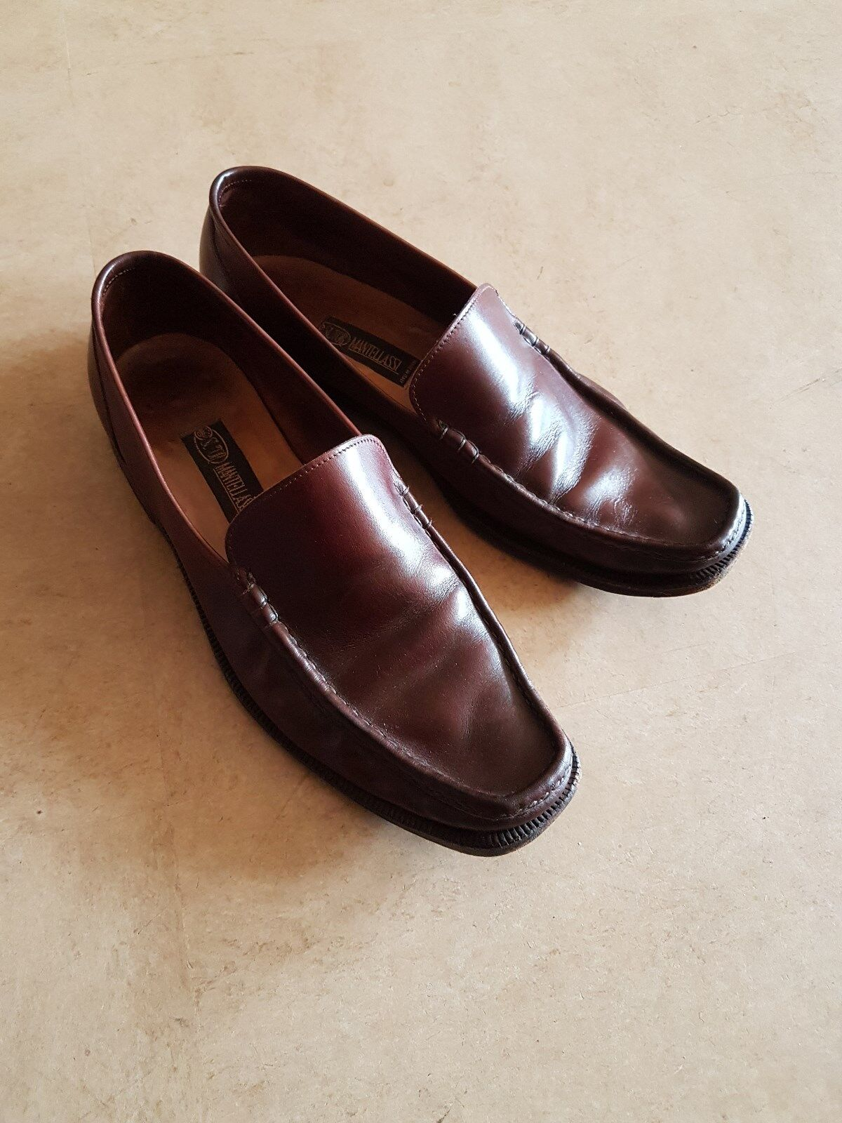 SUTOR MANTELLASSI men's dress shoes 9.5 43  loafers leather soles brown