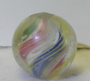 8749m-Vintage-German-Handmade-Solid-Core-Swirl-Marble-59-Inches-Near-Mint-Plus