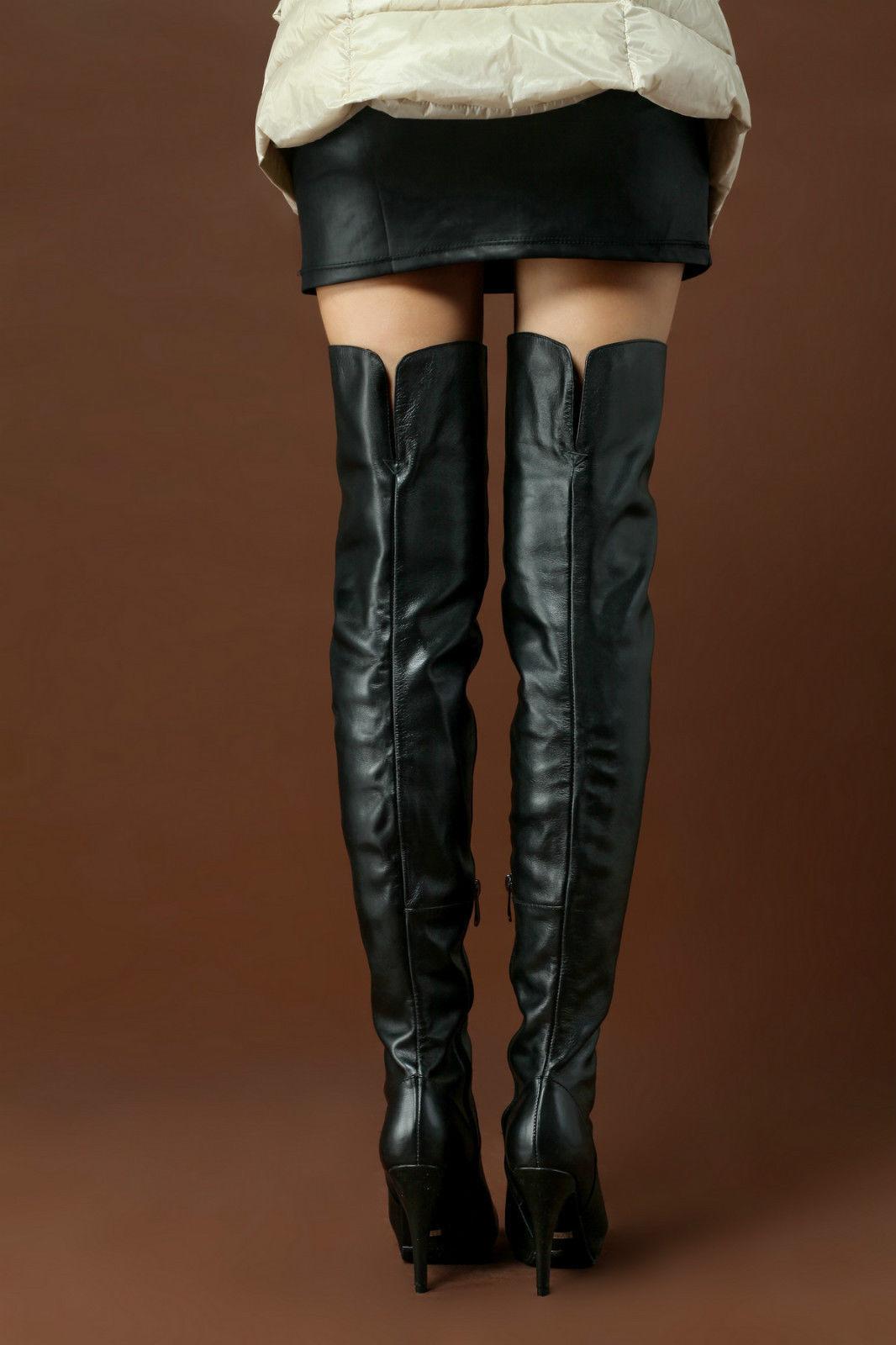 Cuero Para Mujer sobre la rodilla alto del muslo Plisada Tacones Altos Zapatos con cremallera de baile 5489