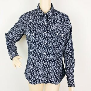 Panhandle-Slim-Womens-Western-Shirt-Blouse-Large-Black-Floral-Print-Pearl-Snap