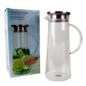 Handgefertigte-Glaskaraffe-mit-Edelstahldeckel-Sieb-Karaffe-Glas-Saft-Dekanter