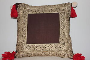 Details About Beautiful Khaadi Handwoven Fabric Cushion With Embroidery Tassle Detail