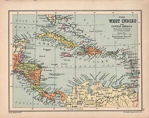 1934 MAP ~ WEST INDIES ~ CENTRAL AMERICA CUBA JAMAICA BAHAMAS HAITI
