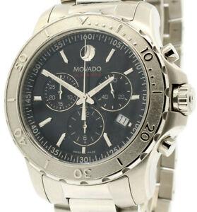 Movado Series 800 Chronograph Black Dial Chrono Steel 42mm Watch 14.1.14.1195