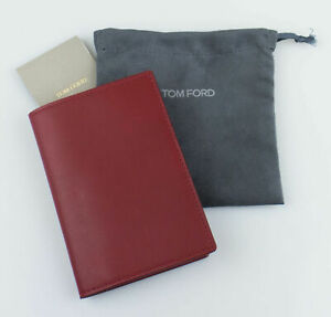 NWT-TOM-FORD-Cardinal-Red-Smooth-100-Leather-Bifold-Card-Holder-Wallet-390