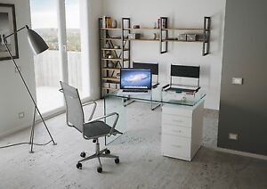 Tavolo scrivania vetro curvato ufficio b desk cassettiera