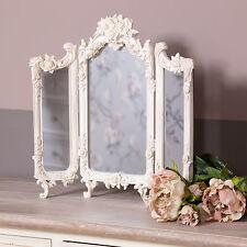 Ornate Cream Triple Mirror Vanity Rose Shabby Dressing Table Chic French Vintage