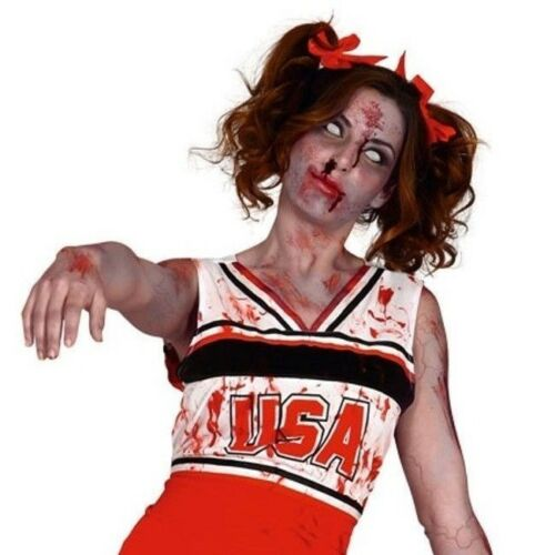 Adult Zombie Cheerleader Costume USA Halloween High School Blood Stained Horror