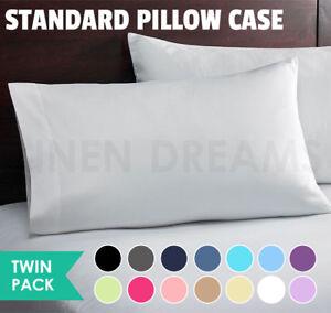 2x-Standard-Pillow-Case-Slip-Cover-Protector-280TC-Polycotton-Easycare